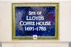 Plaque for Lloyd`s Coffe House Royalty Free Stock Photo