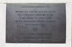 Plaque Marking the First Underground Passenger Railway in London Royalty Free Stock Images