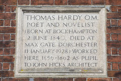 Thomas Hardy Plaque in Dorchester Royalty Free Stock Image