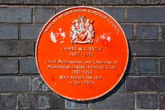 A plaque in memorial of James W. Gibson, chairman of Manchester United from 1931- 1951