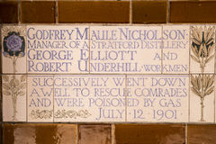 Plaque at the Memorial to Heroic Self Sacrifice in London Stock Images