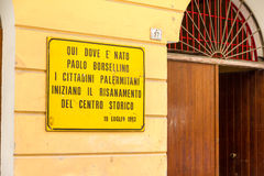 Plaque in memory of Paolo Borsellino in Palermo Stock Images