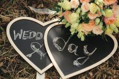Plaque met de woorden van de huwelijksdag stock foto's