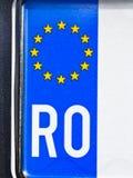 Plaque minéralogique automatique roumaine Image stock