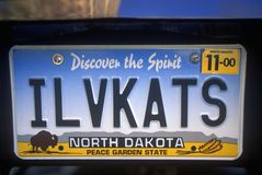 Plaque minéralogique de vanité - le Dakota du Nord Images libres de droits