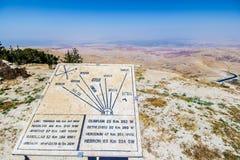 Plaque montrant la distance à de divers emplacements du bâti Nebo photographie stock