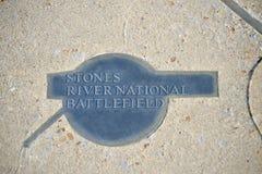 Plaque nationale de Murfreesboro de champ de bataille de rivière de pierres Photos stock