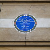 Plaque on the Old county Hall in London. Royalty Free Stock Photography