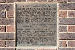Plaque at the monument at the mission church in Campbell Stock Photo