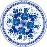 Plaque ornementale décorative russe. Gzhel Photos libres de droits