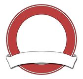 Plaque red. Red circular plaque with white scroll Royalty Free Stock Photography