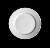 Plaque ronde blanche d'isolement sur la première vue noire images libres de droits