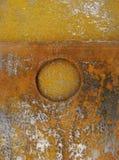 Plaque rouillée en acier avec la forme ronde circulaire Photos libres de droits