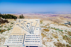 Plaque showing the distance to various locations from Mount Nebo. View of the ` promised land` and the Plaque showing the distance to various locations; Mount Stock Photography