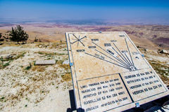 Plaque showing the distance to various locations from Mount Nebo. View of the ` promised land` and the Plaque showing the distance to various locations; Mount Royalty Free Stock Image
