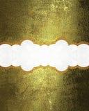 Plaque signalétique décorative sur la texture d'or Photographie stock