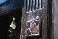 Plaque sur la tombe d'Evita Peron photo libre de droits