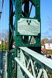 Plaque on Suspension Bridge, Shrewsbury. Royalty Free Stock Images