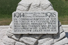 Plaque on 16th Irish Division Memorial Cross at Wijtschate Belgium Stock Image