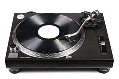 Plaque tournante du DJ avec le tonearm sur l'enregistrement de vinyle photographie stock libre de droits