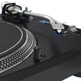 Plaque tournante du DJ de disque d'aiguille de vinyle, vue étroite Photo libre de droits