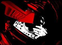 Plaque tournante du DJ et flèche 3D rouge. Image libre de droits