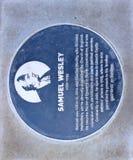 Plaque voor Samuel Wesley, Lincoln Castle Stock Fotografie