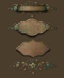 Plaques de cuivre grunges avec le flourish Image libre de droits