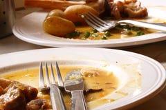 Plaques de dîner après repas images stock