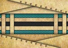 Plaques de métal de couleur d'or avec une grille bleue, 3d, illustration Photos libres de droits