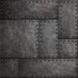 Plaques de métal foncées avec des rivets fond ou texture sans couture photo libre de droits