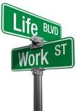 Plaques de rue de décision de travail ou de vie Photo stock