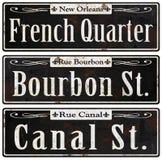 Plaques de rue rustiques de vintage de la Nouvelle-Orléans rétros illustration de vecteur