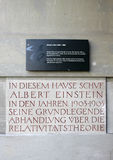 Plaques outside house of Albert Einstein in Bern. Stock Photography