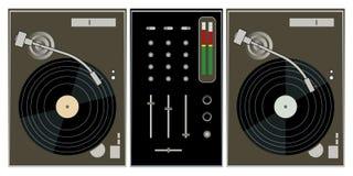 Plaques tournantes et mélangeur du DJ illustration de vecteur