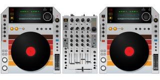 Plaques tournantes et mélangeur du DJ Photo stock