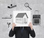 Plaquette avec les immobiliers image libre de droits