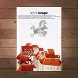 Plaquette de l'Europe de visite avec le paysage de ville Photographie stock libre de droits
