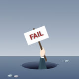 Plaquette de prise de main d'affaires de concept de Fail Bankruptcy Crisis d'homme d'affaires de trou illustration libre de droits