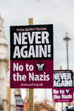 Plaquette - protestation march - Londres Image stock