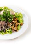 Plaquez avec des verts de salade de champignons Photo stock
