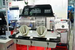 Plas labs Controlled Atmosphere Chamber. MOSCOW - APRIL 28: Plas labs Controlled Atmosphere Chamber at the international exhibition of analytical and laboratory Stock Image