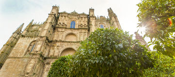 Plasencia Cathedral from orange tree garden, Spain Royalty Free Stock Photo