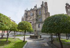 Plasencia New Cathedral. View from orange trees garden Royalty Free Stock Image