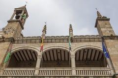 Plasencia stadshusbyggnad, Extremadura Arkivbilder