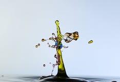Plaskande vattendroppar och format en groda Royaltyfri Bild