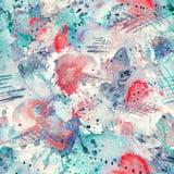 Plaskar fodrar den sömlösa modellen för den abstrakta vattenfärgen med fläckar, droppar, färgstänk och hjärtor Royaltyfri Bild