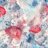 Plaskar fodrar den sömlösa modellen för den abstrakta vattenfärgen med fläckar, droppar, färgstänk och hjärtor Royaltyfri Fotografi