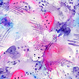Plaskar fodrar den sömlösa modellen för den abstrakta vattenfärgen med fläckar, droppar, färgstänk och hjärtor Royaltyfria Foton