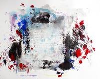 Plaskar modern samtida konstmålarfärg för abstrakt akryl arkivfoto